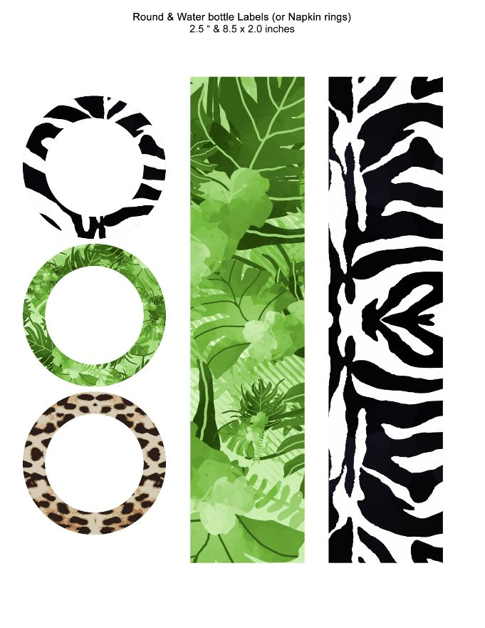 Jungle and Safari Round and Water bottle Labels or Napkin rings