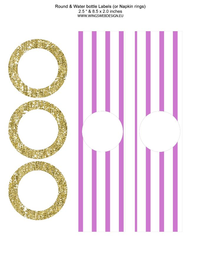Gold and Blush Pink Round and Water bottle Labels or Napkin rings