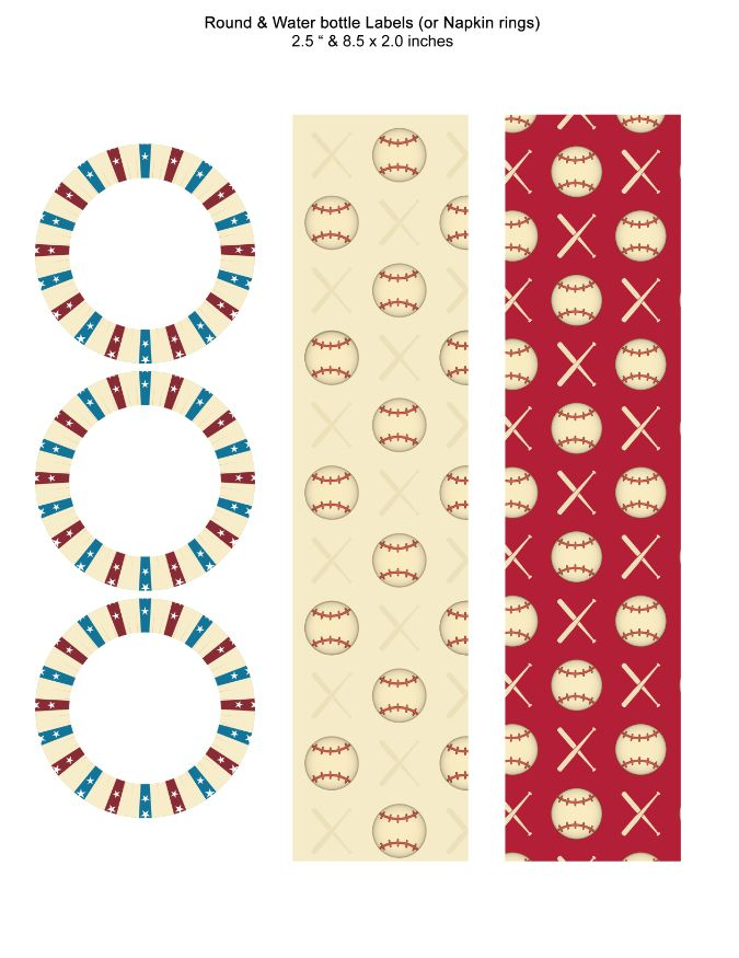 Baseball Round and Water bottle Labels or Napkin rings