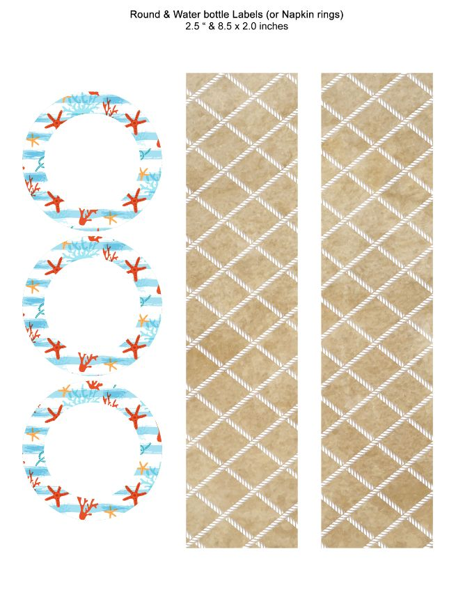 Coral and Sea Round and Water bottle Labels or Napkin rings