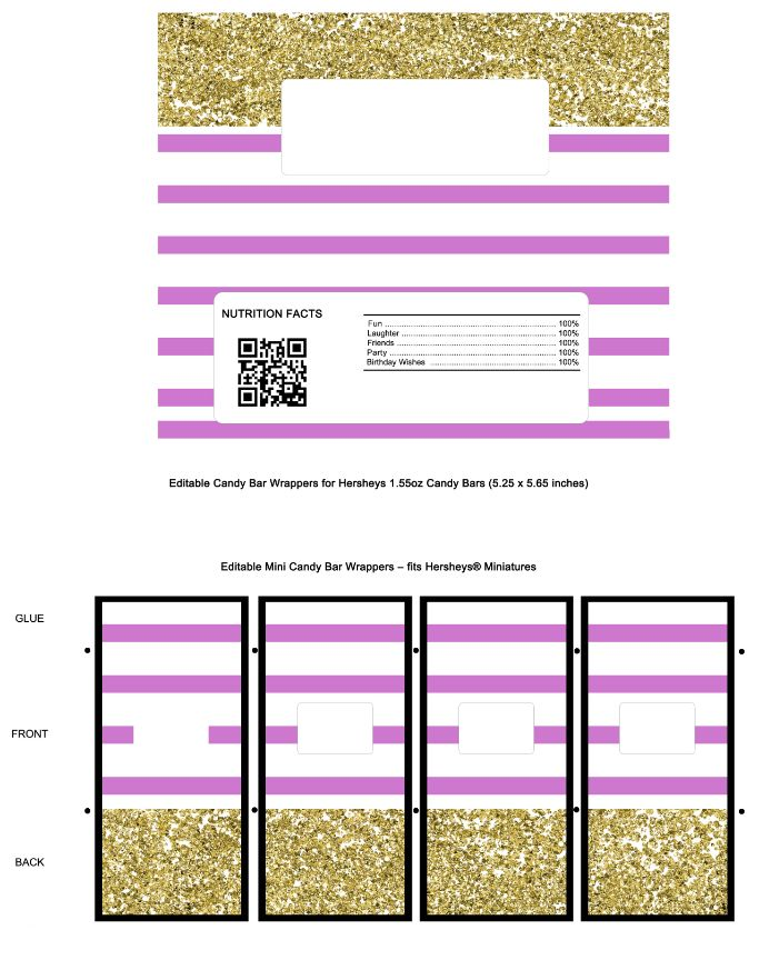 Gold and Blush Pink Candy Bar Wrappers