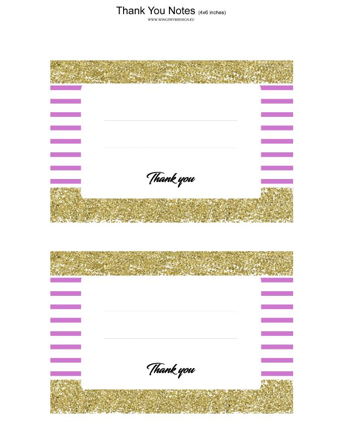 Gold and Blush Pink Thank You Notes