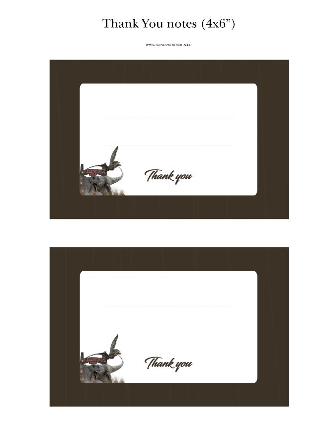 Prehistoric Adventure Thank You Notes