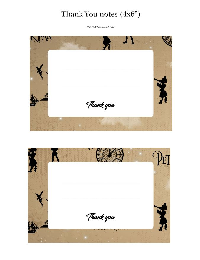 Neverland and Peter Pan Thank You Notes