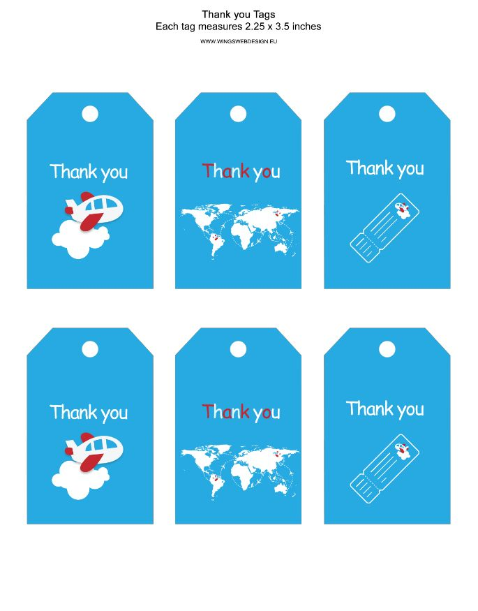 Airplane Thank You Tags