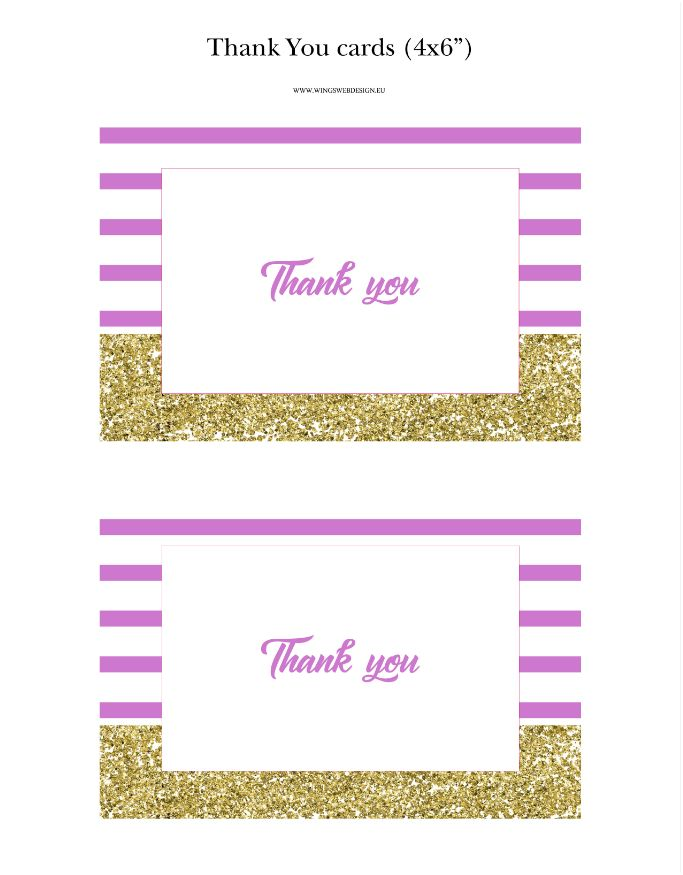 Gold and Blush Pink Thank You Cards