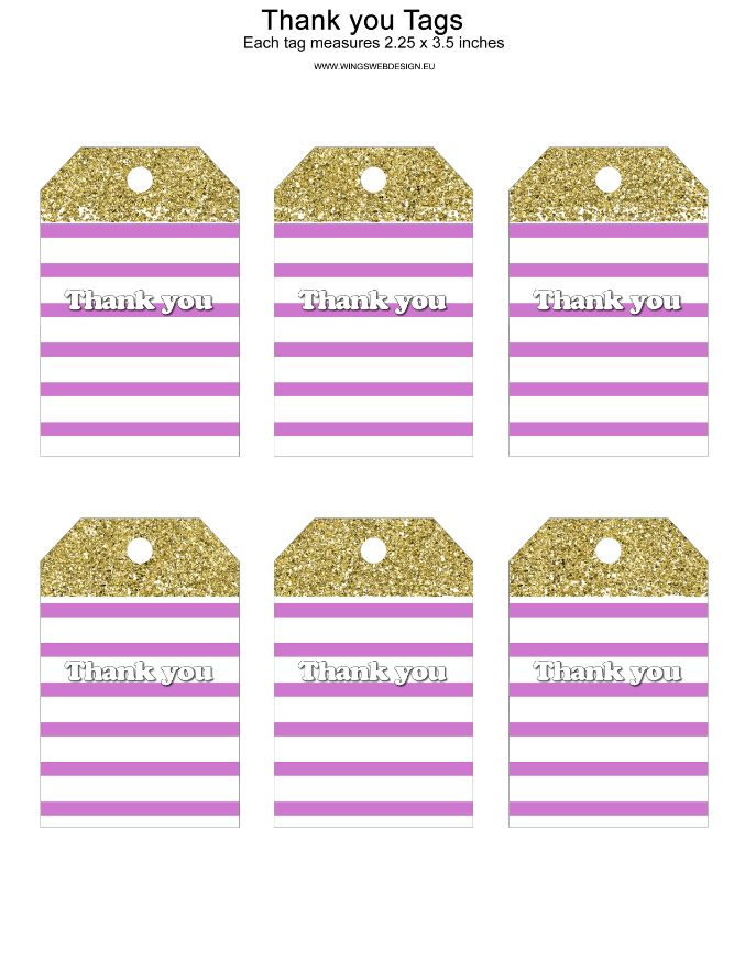 Gold and Blush Pink Thank You Tags