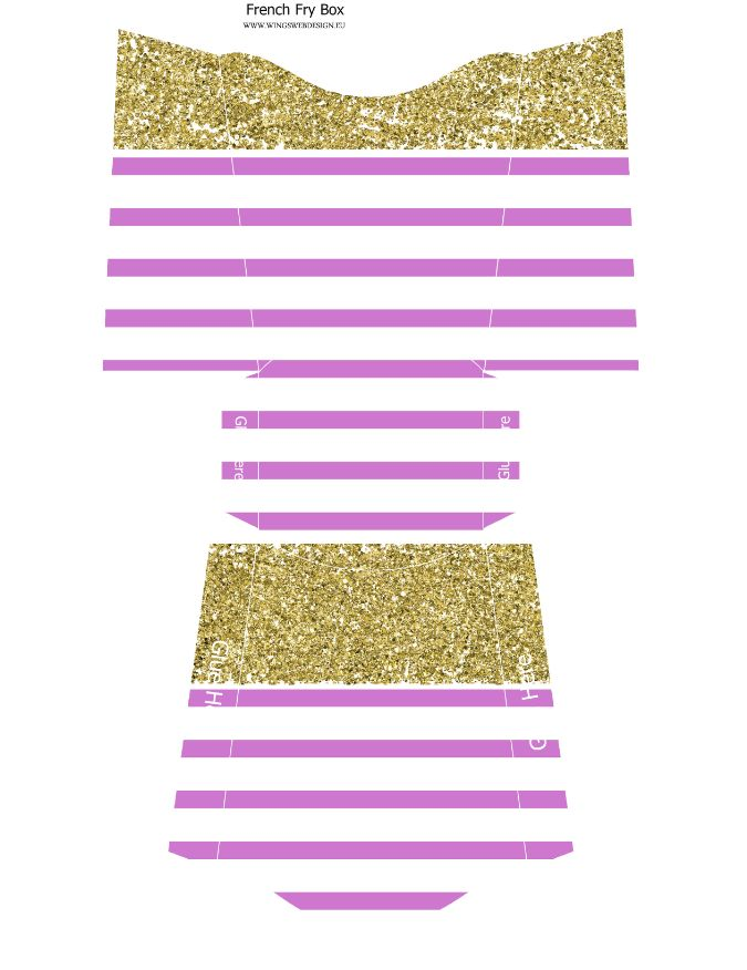 Gold and Blush Pink French Fry Box