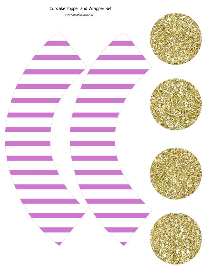 Cupcake topper and wrapper Gold and Blush Pink set