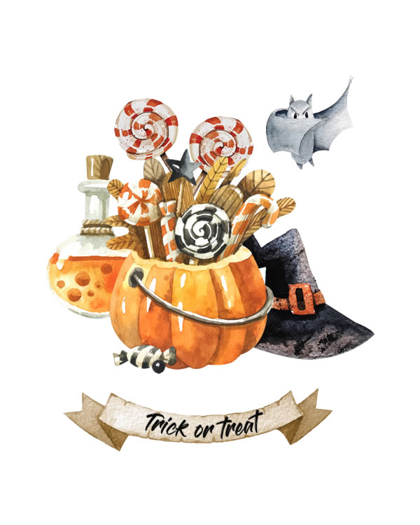 Trick Or Treat. Print Halloween, Fall Printables, fall print printable wall art, fall pumpkin print, fall print Autumn Pumpkins, Prints Wall Decor, Print Watercolor Pumpkin Jack, Lantern Print Decor, Halloween Wall Art, Print Home Decor, Kitchen Watercolor Prints || 8x10 inches (HD pdf)