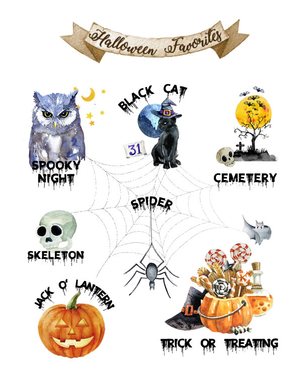 Halloween Favorites Fall Printable, Halloween Printable, Spooky Haunted House Jack-O-Lantern Ghost Witch Holiday Decor || 8x10 inches (HD pdf)