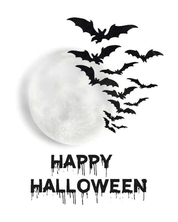 Happy Halloween. Great Motivational Poster inspired by hot Typography art with Bat and Moon. This Halloween Art Print is perfect for home or office inspiration  || 8x10 inches (HD pdf)