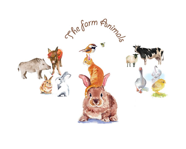 The farm animals. Farm Animals Watercolor, Nursery Prints, Farm Animals Nursery Art, Nursery Printables, Country Nursery Decor, Country Nursery Art, Baby Farmhouse Nursery, Farmhouse Baby Decor || 8x10 inches (HD pdf)