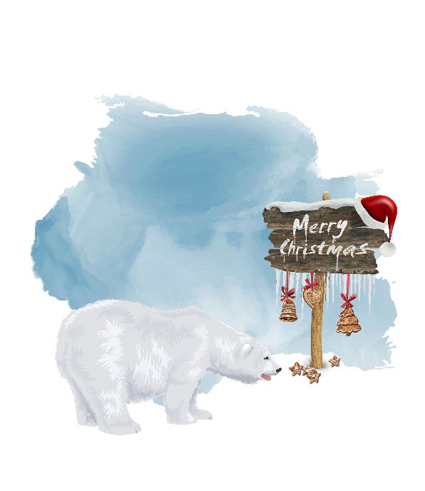 Contemporary Polar Bear Art, an original Watercolor Painting. Sporting festive Christmas Lights this bear will add a touch to your Holiday decor and makes a great gift || 8x10 inches (HD pdf)