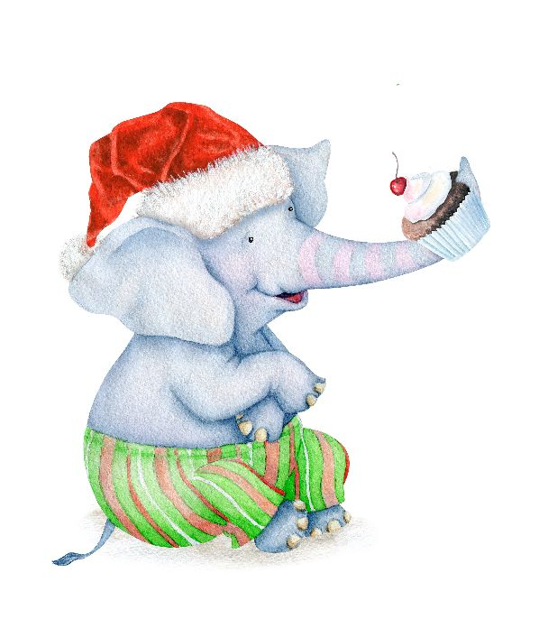 Make your Christmas merry and bright with this adorable wall art printable: a baby elephant that want eat a muffin || 8x10 inches (HD pdf)