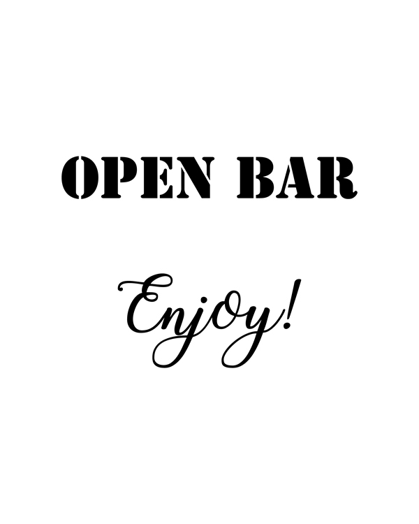 Open Bar, Enjoy. Wedding printable sign, Minimalist Cards and Gifts wedding sign. Printable, reception sign || 8x10 inches (HD pdf)