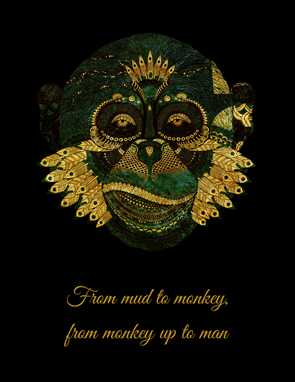 From mud to monkey, from monkey up to man. An african quote printed on wall art with a green and glitter gold monkey. Colorful African monkey surrounded by African quote will make a wonderful addition to home or office. A wall art quote so vibrant and adorable || 8x10 inches (HD pdf)