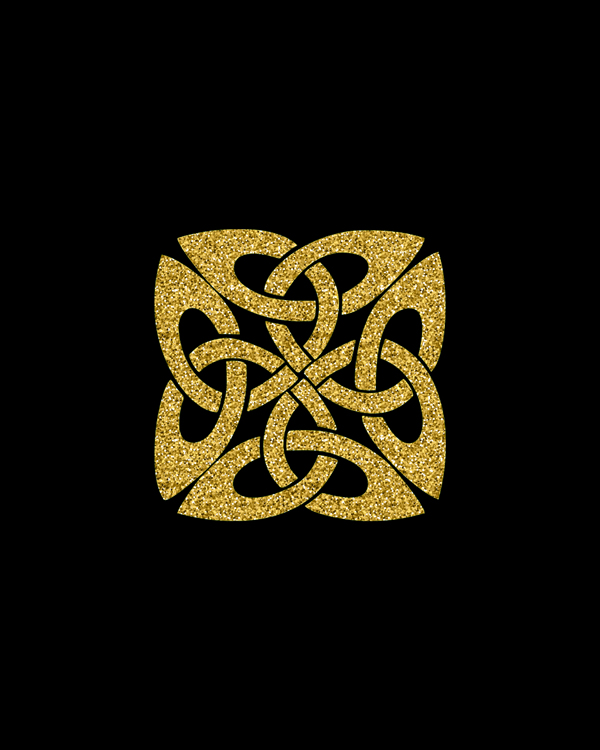 Celtic Knot Wall Art, glitter gold color on black background. Beautiful wall art for house or office. Celtic knot composition, squares print, geometric wall art, original gifts || 8x10 inches (HD pdf)