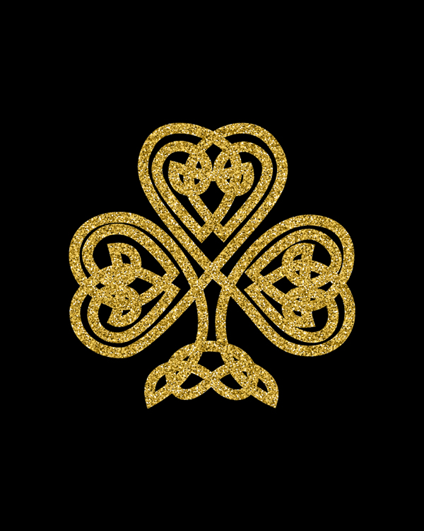 This beautiful cross is truly unique. This cross is the perfect gift for those who collect crosses because it is truly one of a kind. Leaf Clover Shamrock Irish Celtic Knot Wall art, Original Lucky St Patricks Day, Unique Wall Decor, glitter gold color on black background  || 8x10 inches (HD pdf)