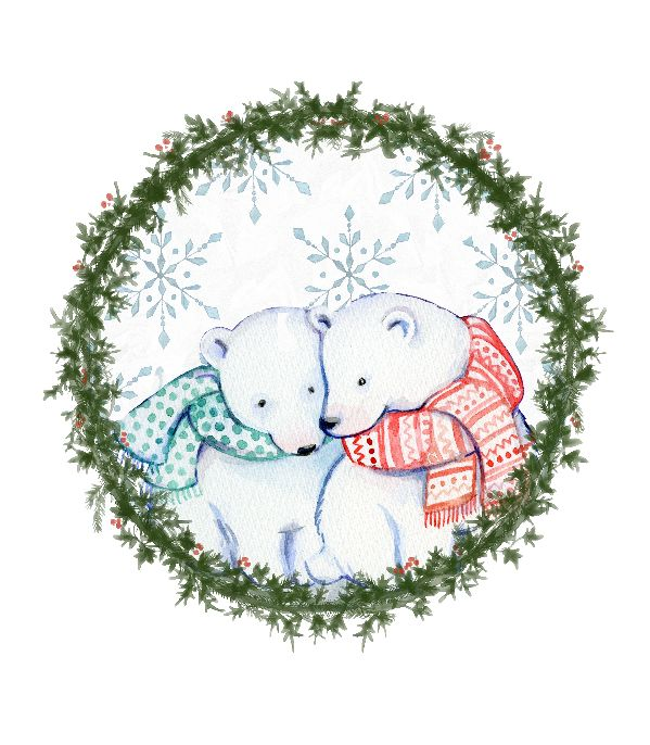Christmas illustration with Polar Bears. Painted with watercolour, in a vibrant and eye catching colour. Impress your loved ones with this beautifully Christmas wall art || 8x10 inches (HD pdf)