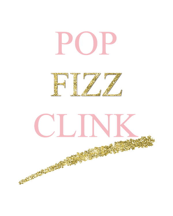 Pop Fizz Clink. Gold Chic Wedding Sign Printables. Toast your bride with this cute gold sign. Perfect for any bridal shower, bachelorette, birthday party or New Year's Eve celebration!  Gold Champagne Party Sign Printable || 8x10 inches (HD pdf)