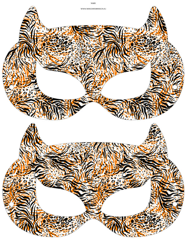 Tiger Printable Masks, masquerade, party, Diy paper, kids, props || 8x10 inches (HD pdf)