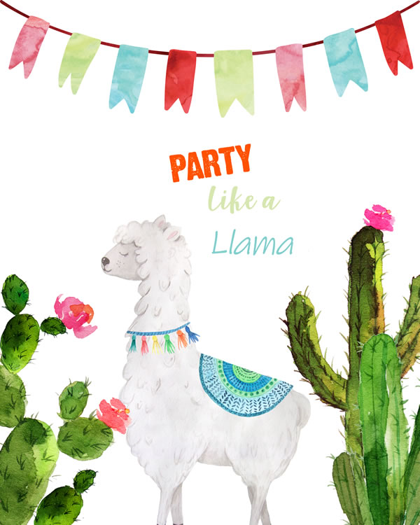 Party like a llama Sign Instant VIEW Llama Mexican FREE printable wall art