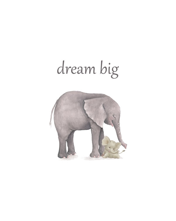 Dream big, Elephant Animal Printable Nursery Wall Art, Watercolor Safari Wall Art, Jungle Animals, Baby Animals, Boy Nursery Prints FREE printable wall art