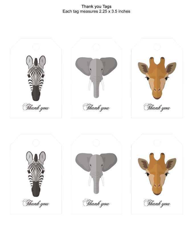 photograph regarding Printable Safari Animals named Prompt Obtain printable Safari pets Thank oneself tag