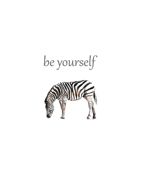 Be yourself, Zebra Animal Printable Nursery Wall Art, Watercolor Safari Wall Art, Jungle Animals, Baby Animals, Boy Nursery Prints FREE printable wall art