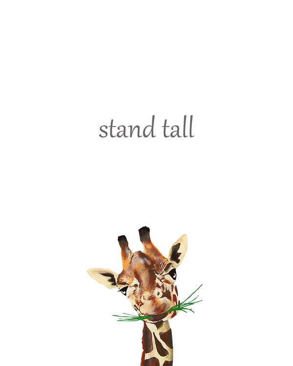 Stand tall, giraffe Animal Printable Nursery Wall Art, Watercolor Safari Wall Art, Jungle Animals, Baby Animals, Boy Nursery Prints FREE printable wall art