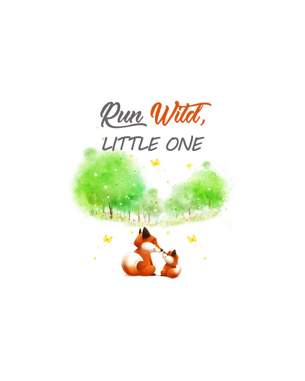 Run Wild, little one - fox nursery wall art FREE printable wall art