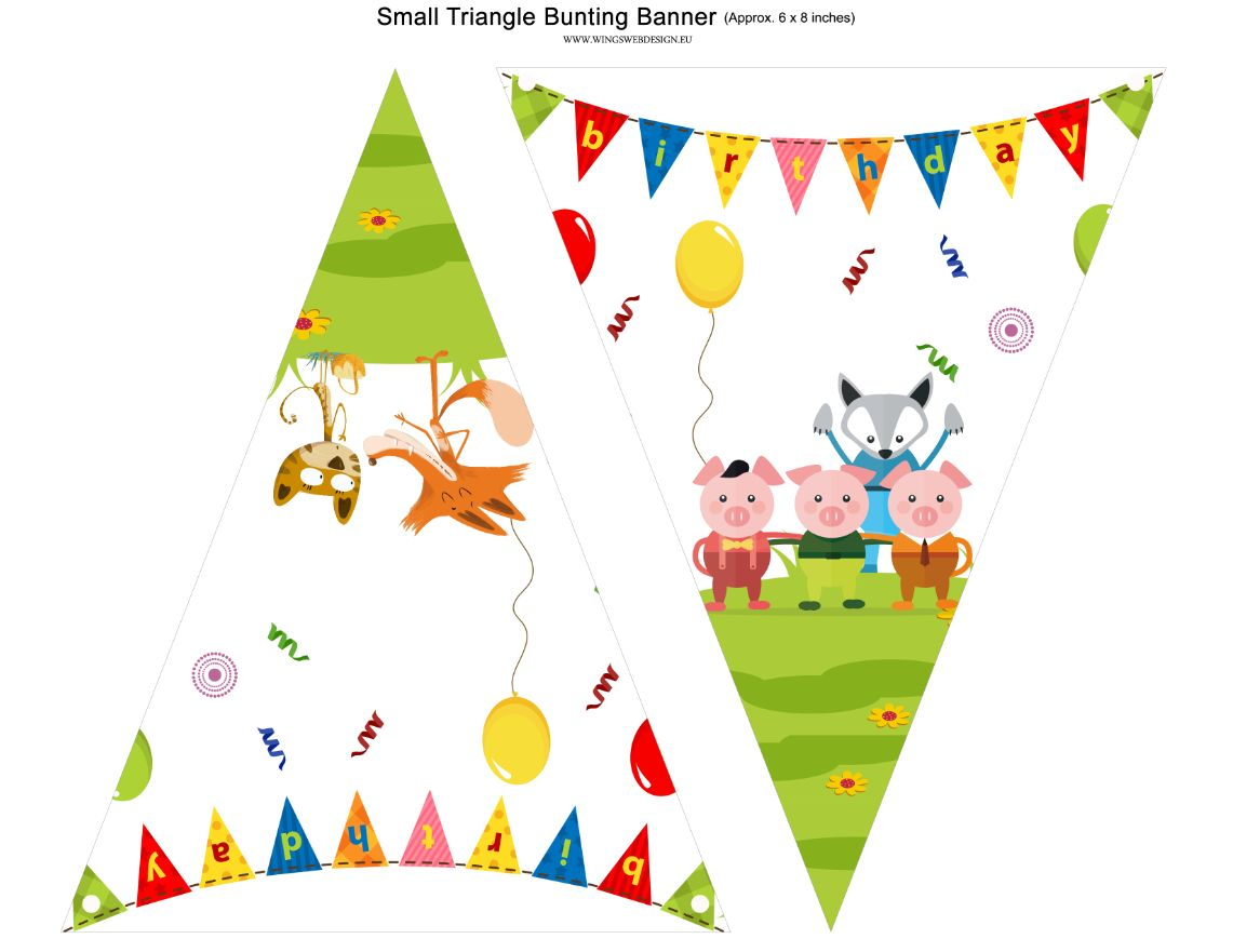 Animals of fables Printable Banner , The three little pigs, The fox and the cat