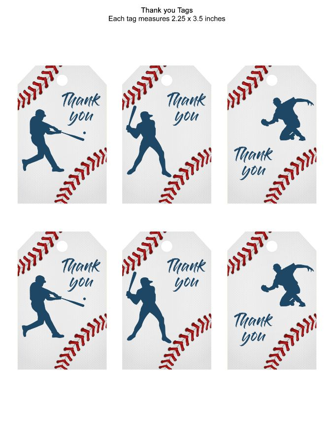printable  Baseball Thank You Hang Tags