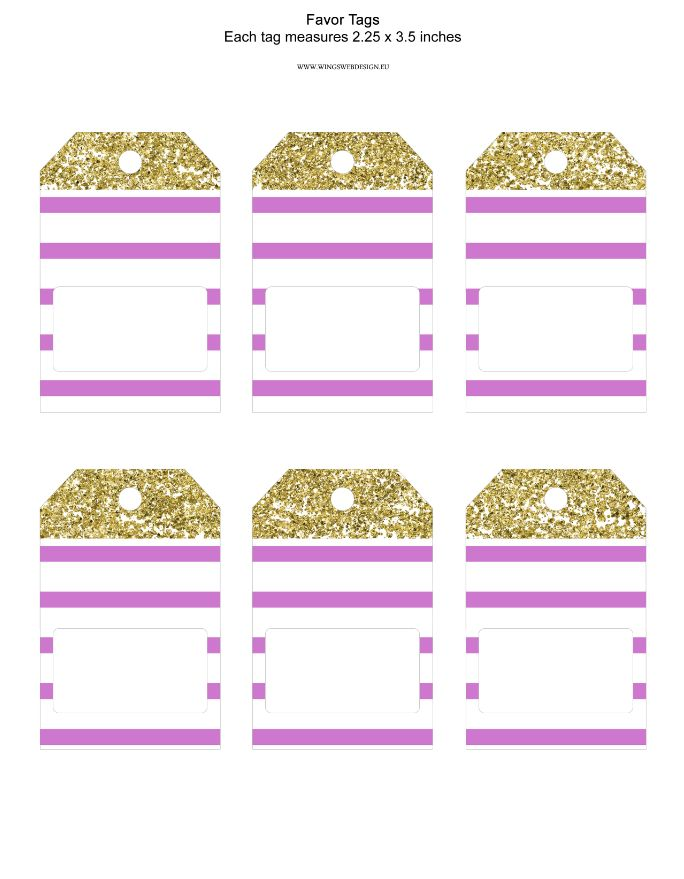 Gold and Blush Pink Favor Tag