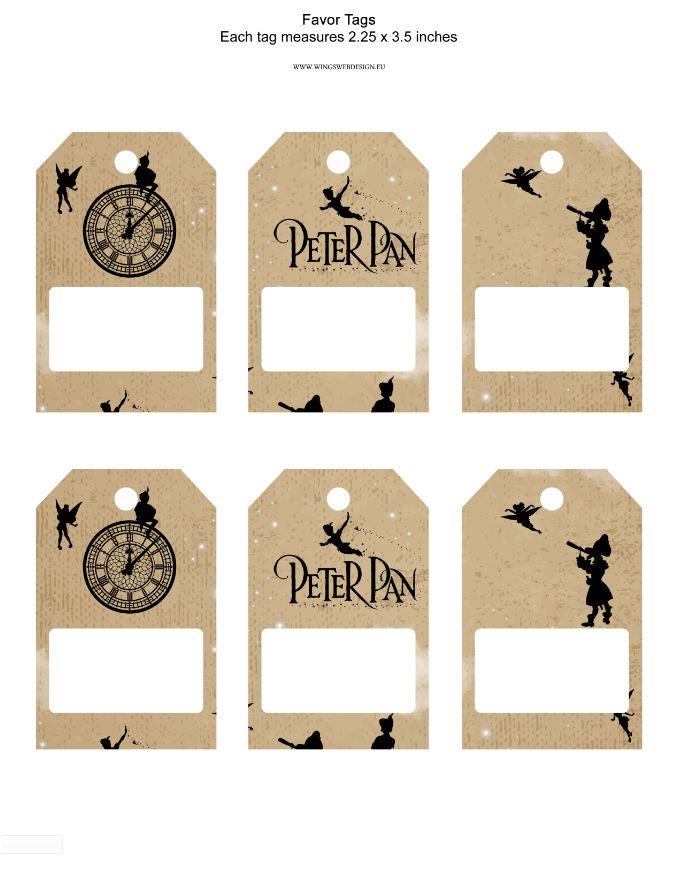 Instant Download Printable Peter Pan Favor Tag Peter Pan