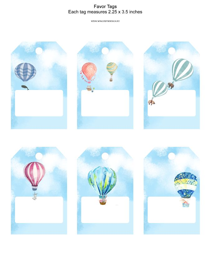 printable Watercolors Hot Air Balloon Favor Tags with animals