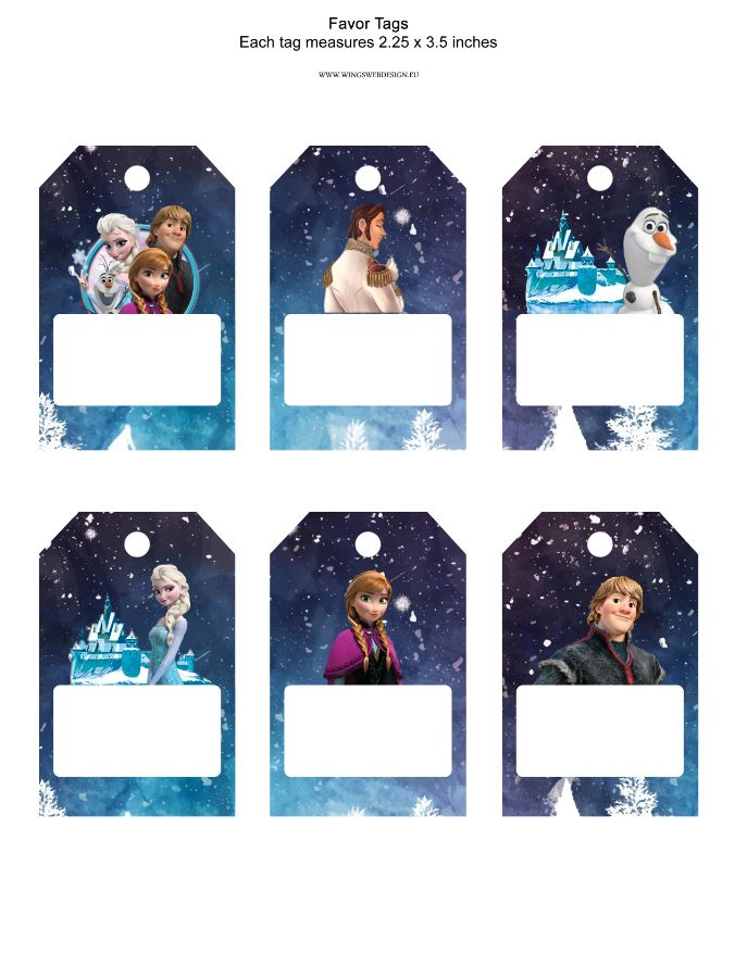 printable Frozen Tags, Party Gifts Favors, Birthday Printables Frozen