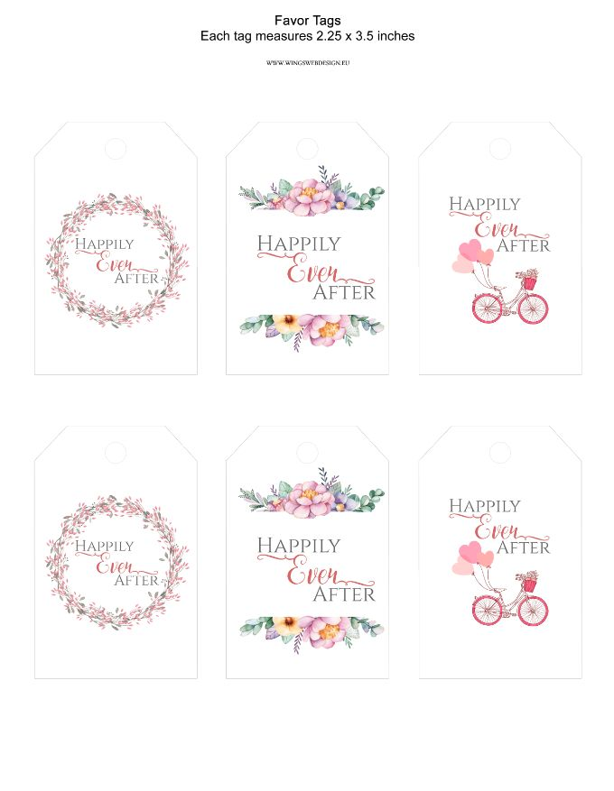 Favor Tags Bridal Shower Wedding Happily Ever After