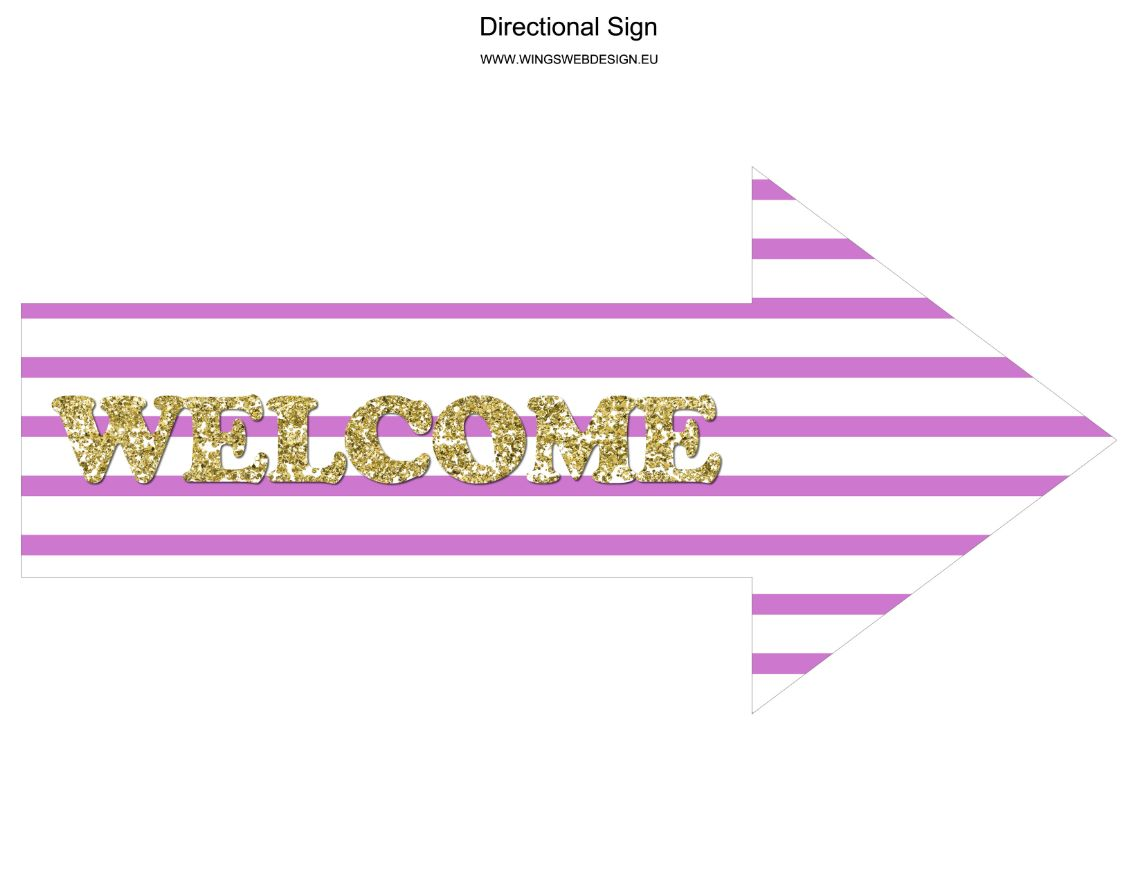 Gold and Blush Pink Welcome directional Sign