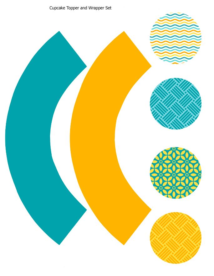 Cupcake topper and wrapper Turquoise yellow orange geometric set