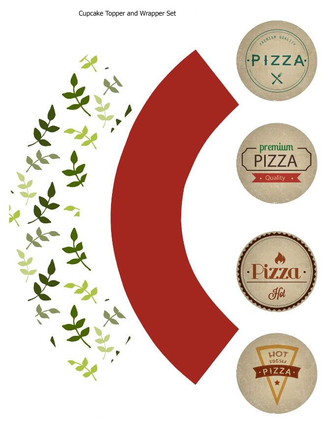 Cupcake topper and wrapper pizza set