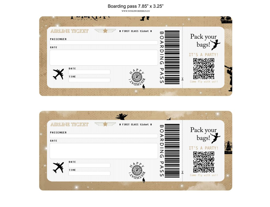 Neverland and Peter Pan Boarding Pass Invitation