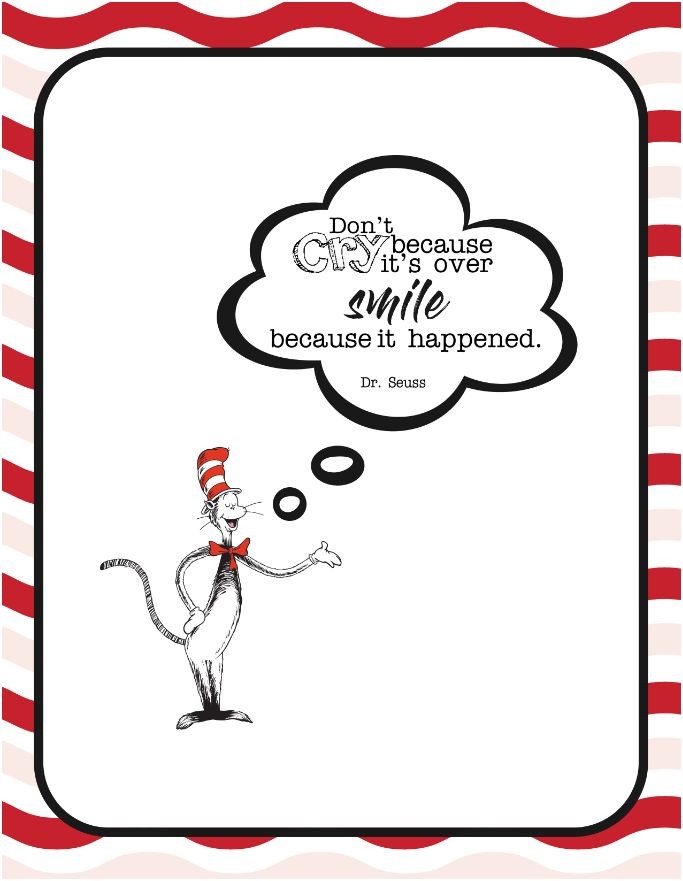 It's just a graphic of Printable Dr Seuss Quotes regarding appreciation